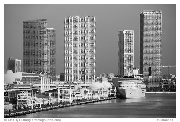 Cruise ship terminal and high rise buildings, Miami. Florida, USA (black and white)