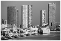 Cruise ship terminal and high rise buildings. Florida, USA ( black and white)