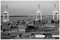 Port with trucks, containers and cranes. Florida, USA ( black and white)