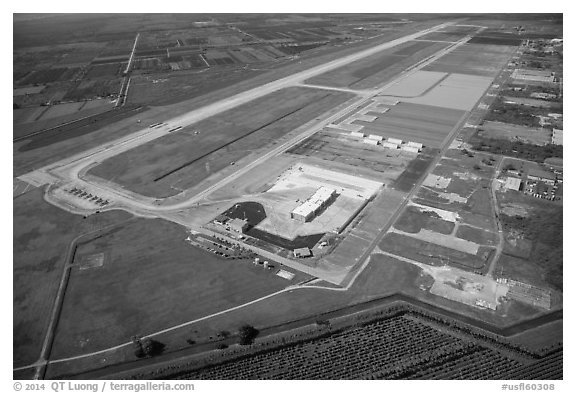Aerial view of Homestead air force base. Florida, USA (black and white)