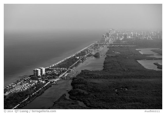 Aerial view of Fort Lauderdale Coast. Florida, USA (black and white)