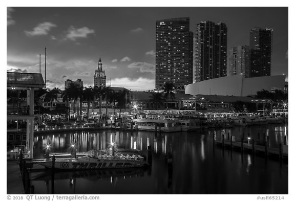 Bayside Marketplace harbor and Freedom Tower at sunset, Miami. Florida, USA (black and white)