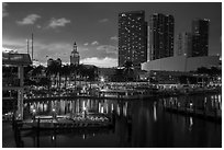Bayside Marketplace harbor and Freedom Tower at sunset, Miami. Florida, USA ( black and white)