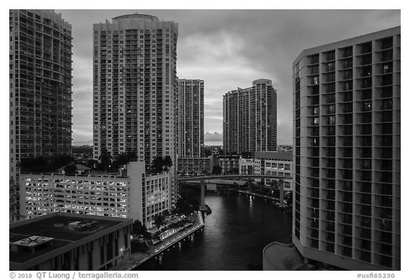 Brickell high-rise towers and Miami River at sunset, Miami. Florida, USA (black and white)