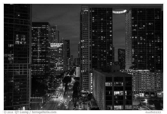 Brickell Avenue and downtown at night, Miami. Florida, USA (black and white)