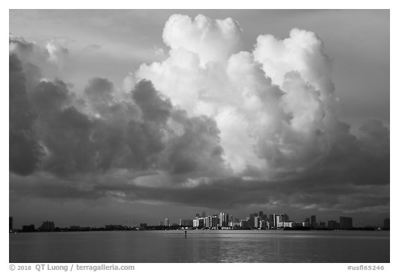 Thunderstorms clouds above skyline and Biscayne Bay. Florida, USA (black and white)