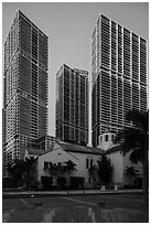 First Presbyterian Church and high rise towers, Miami. Florida, USA ( black and white)