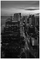 High view of Brickell district and Biscayne Bay at sunset, Miami. Florida, USA ( black and white)