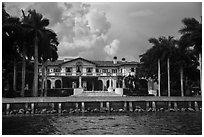 Mansion with waterfront. Coral Gables, Florida, USA ( black and white)