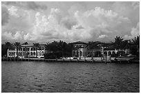 Waterfront mansions. Coral Gables, Florida, USA ( black and white)