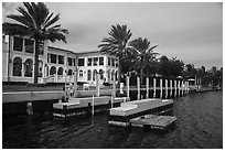 Mansion with boat dock. Coral Gables, Florida, USA ( black and white)