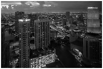 Miami Skyline at dusk with Miami River and Brickell District, Miami. Florida, USA ( black and white)