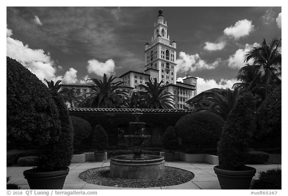 Garden fountain and Biltmore Hotel. Coral Gables, Florida, USA (black and white)