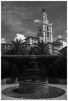 Fountain and Miami Biltmore Hotel. Coral Gables, Florida, USA ( black and white)