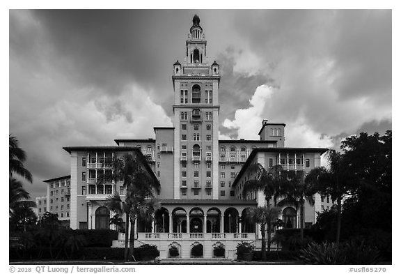 Miami Biltmore Hotel with clouds. Coral Gables, Florida, USA (black and white)