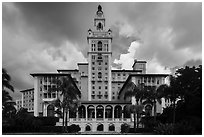 Miami Biltmore Hotel with clouds. Coral Gables, Florida, USA ( black and white)