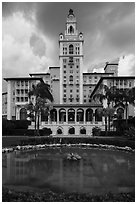 Pond and Miami Biltmore Hotel. Coral Gables, Florida, USA ( black and white)