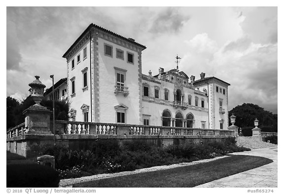 Mansion, Vizcaya Museum, Coconut Grove, Miami. Florida, USA (black and white)