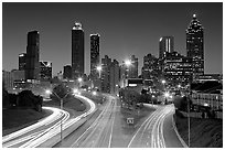 Atlanta skyline and highway at night. Atlanta, Georgia, USA (black and white)