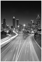 Highway and Atlanta skyline at night. Atlanta, Georgia, USA (black and white)