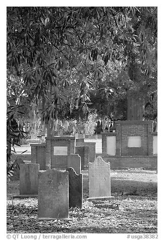 Colonial park cemetery. Savannah, Georgia, USA (black and white)
