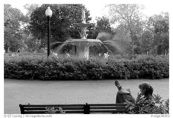 e86191aa947 Black and White Picture Photo  Woman reading in front of Forsyth Park  Fountain. Savannah