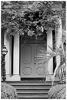 Doorway with luxuriant vegetation. Savannah, Georgia, USA (black and white)