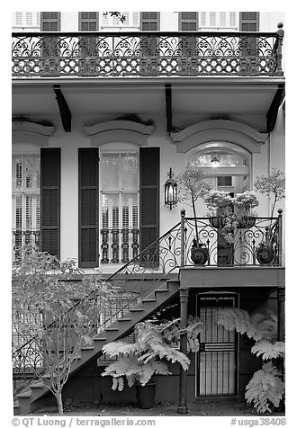 House entrance with lights. Savannah, Georgia, USA (black and white)
