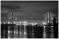 Savannah Bridge at dusk. Savannah, Georgia, USA (black and white)
