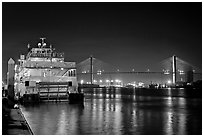 Riverboat, and Savannah Bridge at night. Savannah, Georgia, USA (black and white)