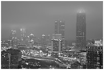 Mid-town high rise buildings in fog a dawn. Atlanta, Georgia, USA (black and white)