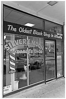 Silver Moon barber shop, oldest black shop in Atlanta. Atlanta, Georgia, USA (black and white)