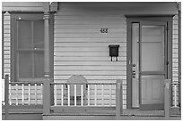 Porch of Sweet Auburn house, Martin Luther King National Historical Site. Atlanta, Georgia, USA (black and white)