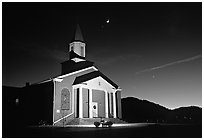 Church and moonrise. Georgia, USA ( black and white)
