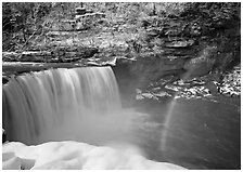 Double rainbow over Cumberland Falls in winter. Kentucky, USA (black and white)