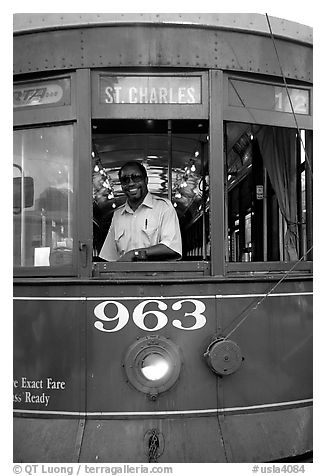 Saint-Charles tramway, Garden District. New Orleans, Louisiana, USA (black and white)