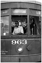 Saint-Charles tramway, Garden District. New Orleans, Louisiana, USA ( black and white)