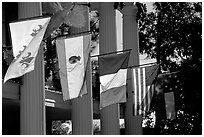 Facade with the four historic flags which have been flown over Louisiana. Louisiana, USA ( black and white)