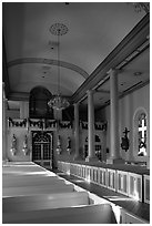 Interior of the church Saint-Martin-de-Tours, Saint Martinville. Louisiana, USA (black and white)