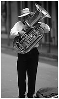 Street Musician, French Quarter. New Orleans, Louisiana, USA ( black and white)