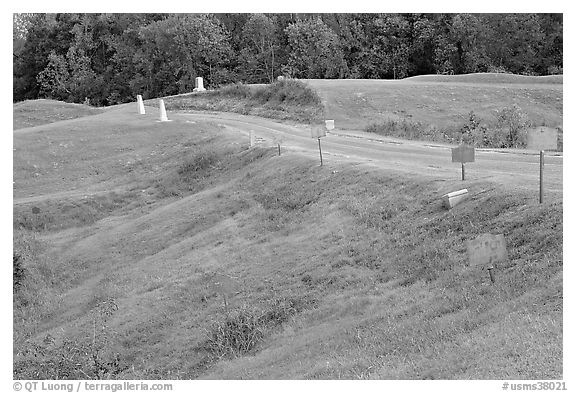 Blue (union) lines markers during civil war pivotal battle, Vicksburg National Military Park. Vicksburg, Mississippi, USA (black and white)