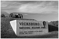 Entrance sign and cannon, Vicksburg National Military Park. Vicksburg, Mississippi, USA (black and white)