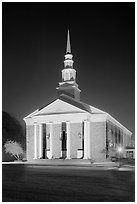 First Baptist Church in Federal style, by night. Natchez, Mississippi, USA (black and white)