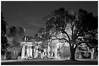 Antebellum mansion set in garden with  backlit oak tree at night. Natchez, Mississippi, USA ( black and white)