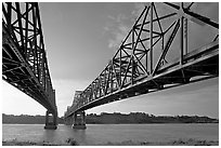 Bridges spanning the Mississippi River. Natchez, Mississippi, USA ( black and white)