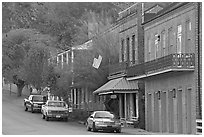 Natchez under-the-hill street. Natchez, Mississippi, USA ( black and white)