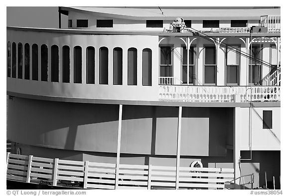 Side detail of riverboat. Natchez, Mississippi, USA (black and white)