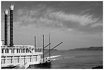 Riverboat and Mississippi River. Natchez, Mississippi, USA (black and white)