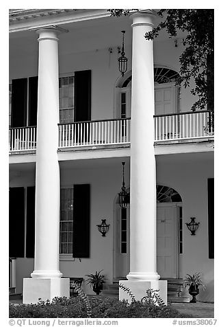 Columns on facade of Rosalie. Natchez, Mississippi, USA (black and white)