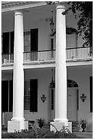 Columns on facade of Rosalie. Natchez, Mississippi, USA ( black and white)